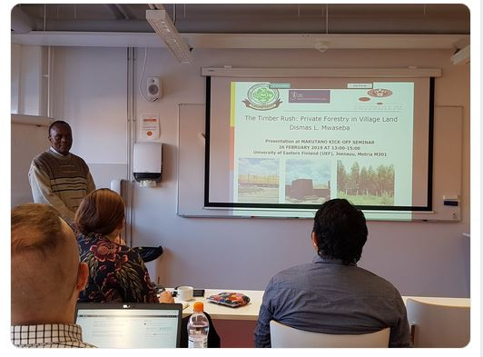 Professor Dismas Mwaseba presenting results of Timber Rush - Private forestry on village land